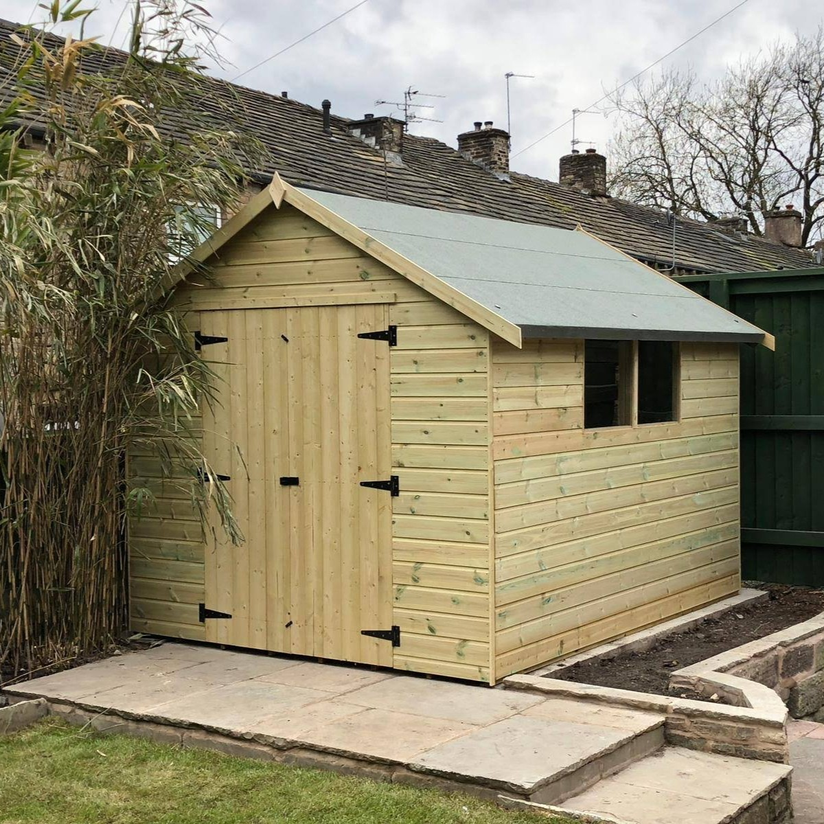 Garden sheds uk made free delivery apex shed front double doors side windows apex sheds garden sheds by type