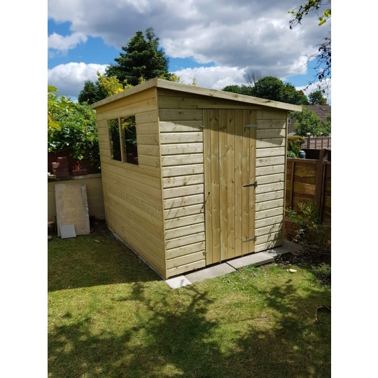 Pent Shed Front Windows and Side Door
